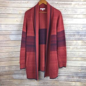 CAbi #897 Joy Red Open Front Cardigan Sweater Sz L